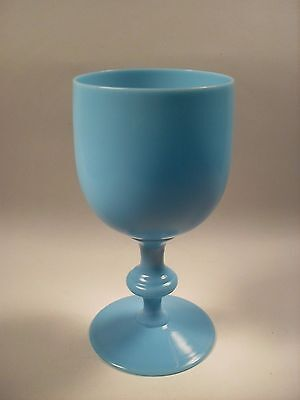 Vintage Portieux Vallerysthal French Blue Opaline Glass Water Goblet