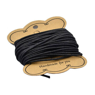 10m Black Cotton Wax Bead Cord String Thread For Bracelets Making 2mm