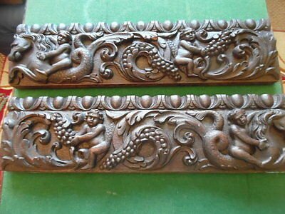gothic architectural  matching pair of carved figures on drawer fronts solid oak
