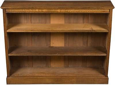 Antique English Oak Short Narrow Open Adjustable Bookcase Bookshelf Book Shelf