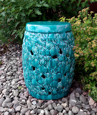 Sealife Teal ceramic stool table outdoor or indor