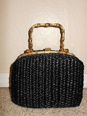 Vintage GLADYS GOLDEN Italian Woven Black Straw Clutch Gold Frame Purse