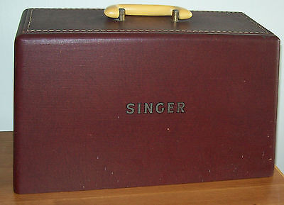 Singer Sewing machine Case Lid cover (only) faux leather look & key fit 185K etc