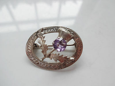 Vintage Sterling Silver and Amethyst Scottish Thistle Brooch