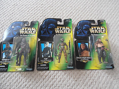 Star Wars Power of the Force Action Figures x 3 - Kenner 1995 1997 - Chewbacca +
