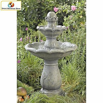 Tiered Water Fountain Outdoor Gray 3-Tier Cascade Bird Stone Garden with UL Pump