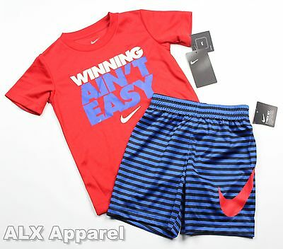 Nike Boys 2 Piece Set T-Shirt Striped Shorts Blue Red Size 4 (XS)