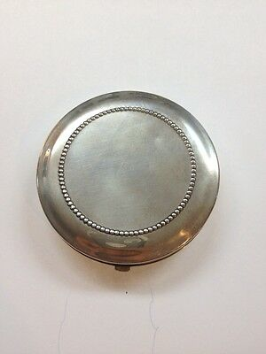 Antique Sterling Silver Compact Powder Box With Mirror
