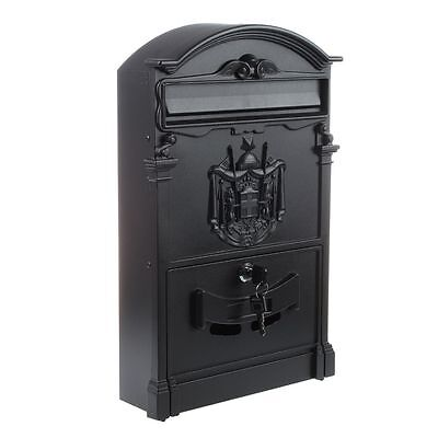 Heavy Duty Black Aluminium Lockable Secure Mail Letter Post Box PK