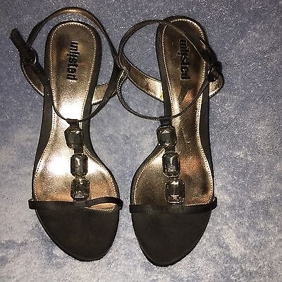 Unlisted Black Faux Crystal Trim Strappy High Heel Sandal Dress Shoes