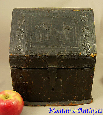 Antique Georgian Tooled Leather Letter Box 18th/  19th cent