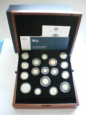 Rare 2016 ROYAL MINT UK Premium Proof Coin Set - Original box with lid and COA