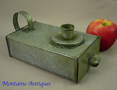 Antique Unique Tin chamberstick with candle box