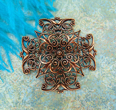 Closeout ANTIQUE COPPER Cross Filigree Stamping ~ Ornament Findings (CB-3043) *