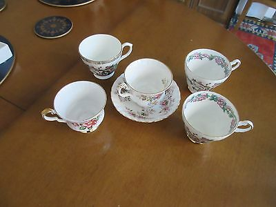 5 Assorted Teacups &1 Saucer 2 Argyle,1 Royal Windsor,1 Heron Cross,royal Albert