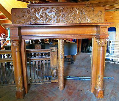 Large Victorian Quartersawn Oak Fireplace Mantel
