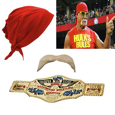 Hogan Fancy Dress Moustache Bandanna Wrestling Icon Belt 80s 90s Stag Halloween
