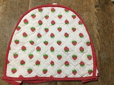 VINTAGE Quilted TOASTER, MIXER COVER strawberry pattern red trim