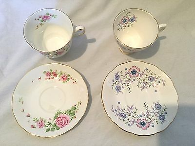 Avon Lot of 2 Tea Cup Saucer Pink Roses Blue Blossoms NIB Vintage NEW • $15.99