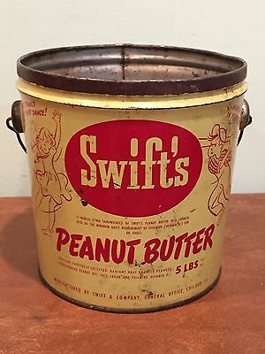 Vintage Advertising Tin Swift's Peanut Butter Pail Bucket