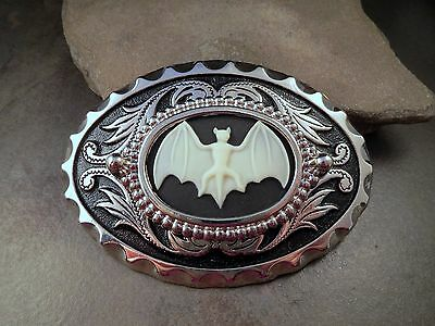 Handmade Antique Silver Bat Cameo Belt Buckle