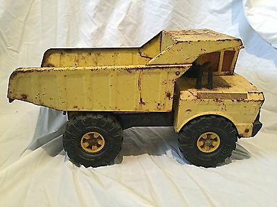 Vintage Mighty Tonka Dump Truck Circa 1970's Yellow Die Cast Toy Collectible