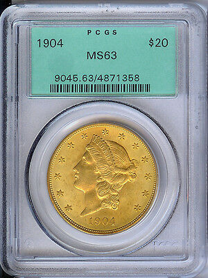 1904 PCGS MS63 $20 Gold Liberty,Very Nice PQ LIB! Satiny! OGH Old Green Holder