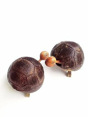 1 Turtle Figurine Tortoise Statue Coconut Shell Wood Sculpture Feng Shui Animal