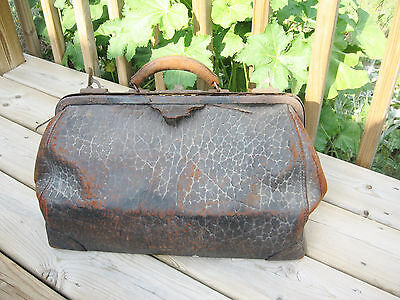 Antique Doctor Bag Satchel Walrus Leather