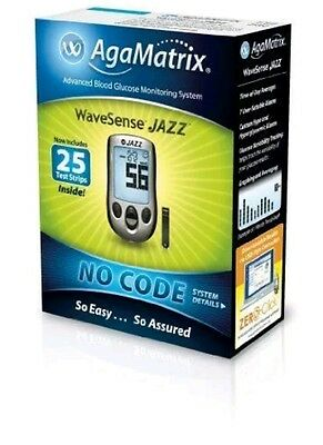 WaveSense Jazz Blood Glucose Meter Monitor Kit AgaMatrix With Test Strips NEW