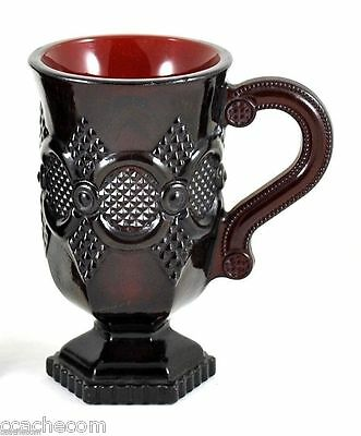 Ruby Red Glass Pedestal Mug Avon 1876 Cape Cod Collection Cup