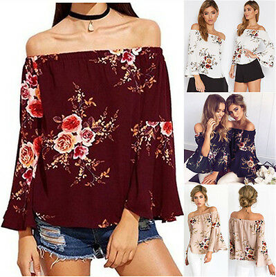UK Womens Fashion Floral Blouse Off Shoulder Loose Ladies Casual T Shirt Tops