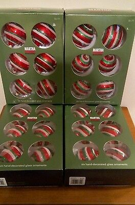 """Lot of (24) 2.4"""" Hand Decorated Glass Christmas Ornaments Martha Stewart"""