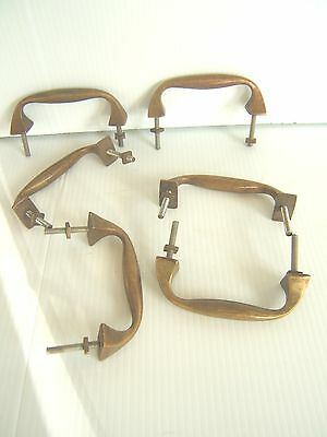 6 X  Vintage Brass Bronze Patina  Pull Handles - Arts & Crafts, (See Others)...