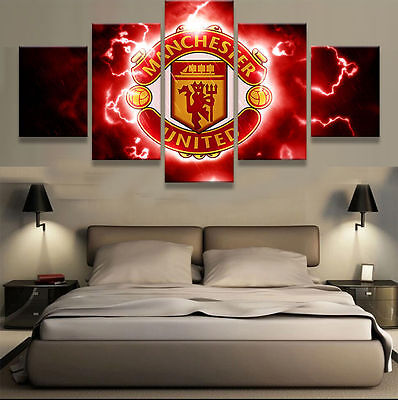 5 Panel Manchester United FC Fans Football Painting Canvas Wall Art Home Decor