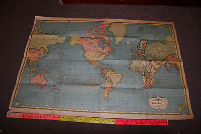 Vintage Large Hammonds Comprehensive Map Of The World