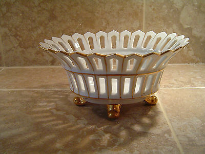 Vintage  Paris Porcelain Footed Bowl With Gold Accent