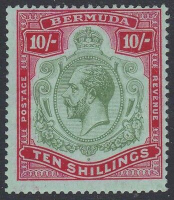 BERMUDA KGV 1918-22 Issue 10/- Keyplate Scott 53  SG54  Mint Hinged cv £180