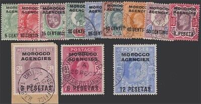 MOROCCO KEVII 1907-12 Set of 12 Values Scott 34-45 SG112-123 Used cv £160