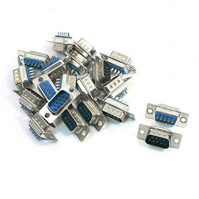20 Pcs Replacement Converter DB9 Male Solder Type Adapter Blue P8G9