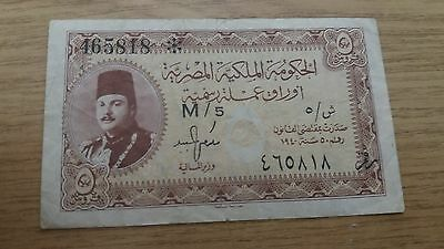 EGYPT 5 PIASTRES 1940 - P165a  VERY DECENT  BANKNOTE