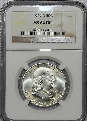 1949 D Franklin Silver Half Dollar Certified Ngc Ms 64 Fbl - Nice!