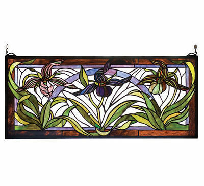 "NEW Meyda Lighting 22928 30""W X 13""H Lady Slippers Stained Glass Window Panel"