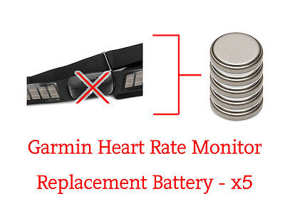 Garmin Soft Strap Heart Rate Monitor - Replacement Batteries - x5