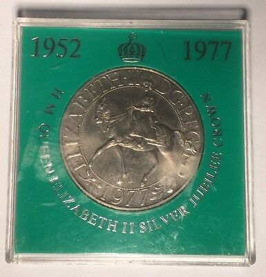 1977 Queen Elizabeth II Silver Jubilee Crown coin in presentation box