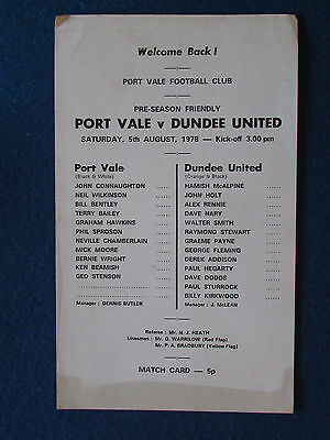 Port Vale v Dundee United - 5/8/78 - Friendly Programme - Single Sheet