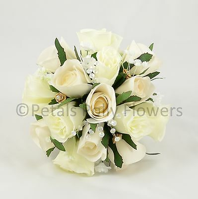 Silk Wedding Flowers by Petals Polly, BRIDESMAID BOUQUET POSY in CHAMPAGNE GOLD