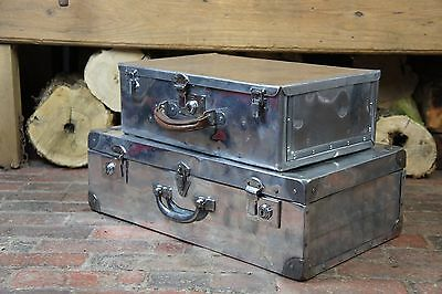 Pair Of Art Deco Aluminium Polished Suitcases