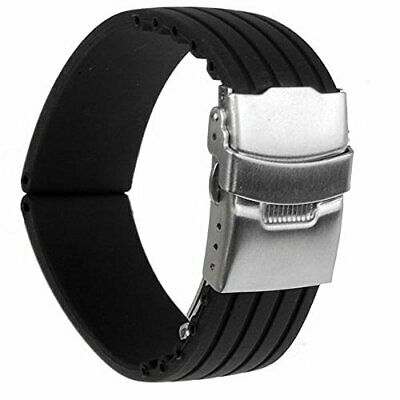 22mm Waterproof Watch Band Strap with Stainless Steel Deployment Clasp Buckle PK