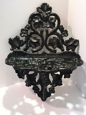 Antique Cast Iron Wall Shelf Floral Leaves Sconce Bracket Flowers Heavy